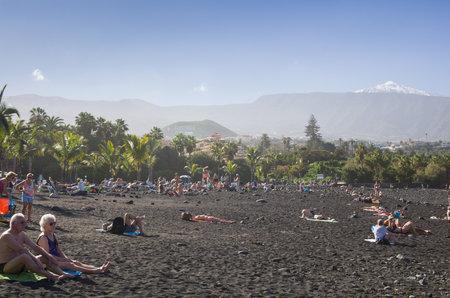 PUERTO DE LA CRUZ, TENERIFE, CANARY ISLANDS - JANUARY 12, 2014: The coast of Atlantic ocean in Puerto De La Cruz, one of the most popular touristic towns, Canary islands, Spain Editorial