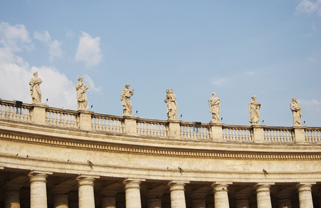 colonnade: Statues of Vatican Berninis colonnade in Rome, Italy