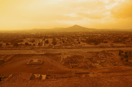 Teotihuacan Pyramids near Mexico City at sunset