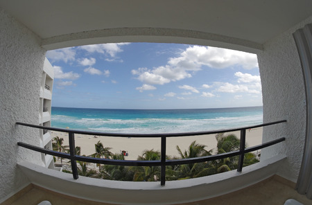 cancun: Fish eye view from the balcony of hotel on the coast of Caribbean sea, Cancun, Mexico Stock Photo