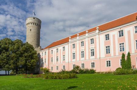 herman: Herman Tower and Parliament building in center of Tallinn, Estonia