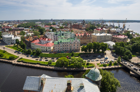 vyborg: Top view on old buildings of Vyborg, Russia Stock Photo