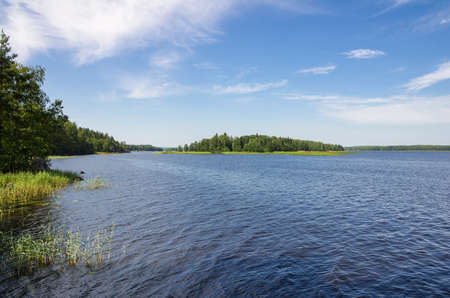 vyborg: Summer landscape in park Monrepo near town Vyborg in Russia on bank of Gulf of Finland Stock Photo
