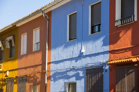 spanish houses: Colourful houses in little spanish town