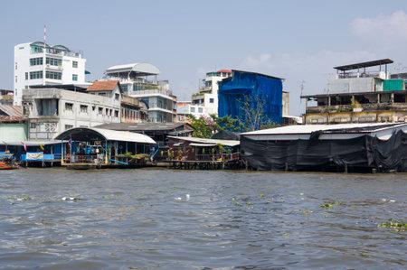 chao: Houses along the river Chao Phraya, Bangkok, Thailand