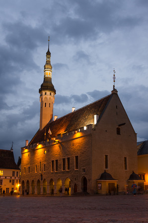 town hall square: Buildings of Town Hall Square in the night, TALLINN, ESTONIA