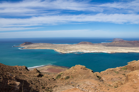 mirador: View of Graciosa Island from Mirador del Rio, Lanzarote Island, Canary Islands, Spain