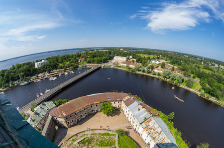vyborg: Fish-eye view on buildings of Vyborg, Russia