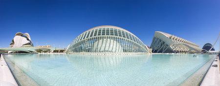 sciences: VALENCIA, SPAIN - OCTOBER 08, 2014: Panoramic view of the buildings in the City of Arts and Sciences (Ciudad de las artes y las ciencias) in Valencia, Spain