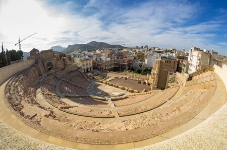 cartagena: Ruins of roman amphitheater in Cartagena, Spain Stock Photo