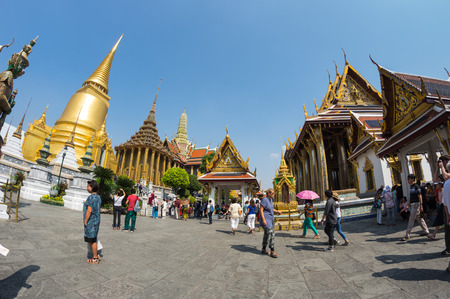 thailand: BANGKOK, THAILAND - JANUARY 24, 2015: Wat Phra Kaew in Bangkok, Thailand. Wat Phra Kaew or Temple of the Emerald Buddha is regarded as the most sacred Buddhist temple in Thailand