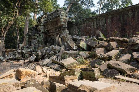 strangler: Ruins of Ta Prohm temple at Angkor Wat complex, Siem Reap, Cambodia Stock Photo