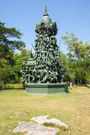 SAMUT PRAKAN, THAILAND - FEBRUARY 05, 2015: Monument in Ancient Siam (also known as Ancient City or Mueang Boran), the 320-hectare city with 116 structures of Thailands famous monuments and architectural attractions Editorial