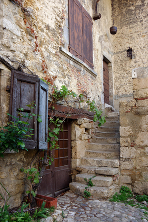 medieval: Old stone house at medieval village Perouges in France Stock Photo