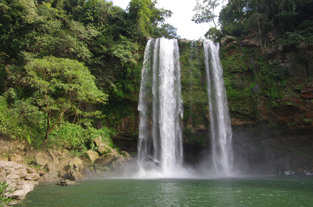 place of interest: Misol Ha waterfall, Chiapas, Mexico. Popular place of interest in jungles Stock Photo