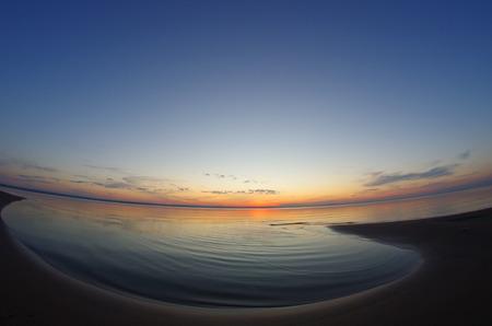 volga: Sunset over the great russian river Volga Stock Photo