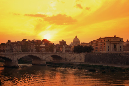 tevere: View on sunset over the Tibre, Rome, Italy Stock Photo