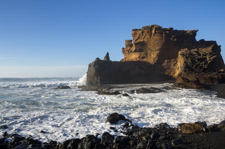 lanzarote: Lagoon El Golfo on Lanzarote, Canary islands, Spain Stock Photo