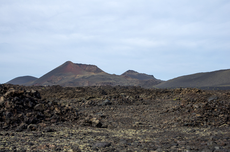 timanfaya natural park: Volcanic landscape of the island of Lanzarote, Canary Islands, Spain Stock Photo