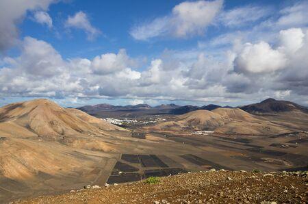 Top view on village Las Casitas de Femes, Canary Island Lanzarote, Spain