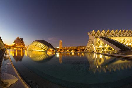 VALENCIA, SPAIN - OCTOBER 07, 2014: El Palau de les Arts Reina Sofia and L'Hemisferic in the City of Arts and Sciences (Ciudad de las artes y las ciencias) in Valencia, Spain Editorial