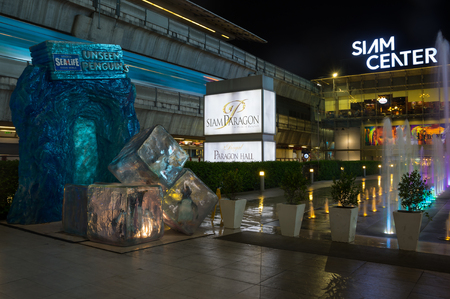 paragon: BANGKOK, THAILAND - JANUARY 23, 2015: Siam Paragon shopping center at night Bangkok, Thailand. Siam Paragon is one of the largest malls in the world.