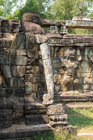 thom: Terrace of Elephants at Angkor Thom complex, Siem Reap, Cambodia