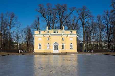 katherine: Bathhouse pavilion in Catherine park  in Tsarskoe Selo near Saint Petersburg, Russia Stock Photo