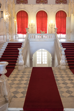 pushkin: Staircase in Catherines Palace in Tsarskoye Selo (Pushkin), 30 km south of Saint- Petersburg, Russia Editorial