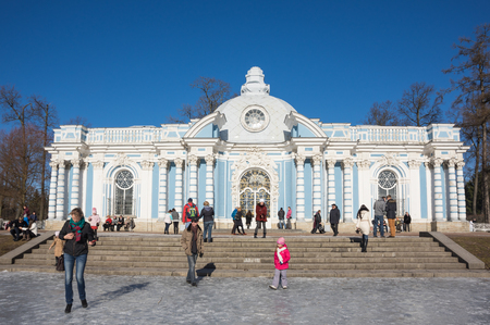 katherine: SAINT-PETERSBURG, RUSSIA - March 14, 2015: Tourists visiting one of pavilions in Catherines Park in Tsarskoye Selo (Pushkin), 30 km south of Saint- Petersburg, Russia