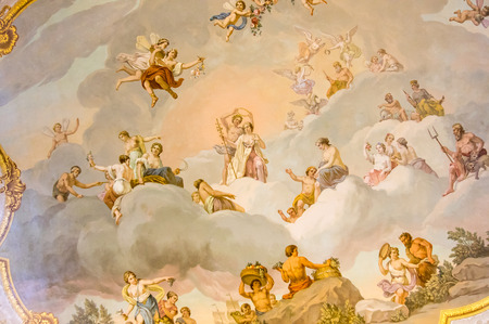 SAINT-PETERSBURG, RUSSIA - March 14, 2015: Ceiling in one of the halls in Catherine's Palace in Tsarskoye Selo (Pushkin), 30 km south of Saint- Petersburg, Russia