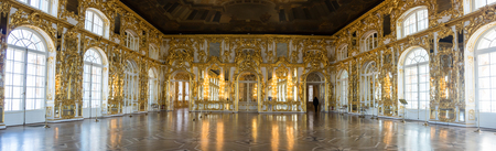 katherine: SAINT-PETERSBURG, RUSSIA - March 14, 2015: Interior of one of the halls in Catherines Palace in Tsarskoye Selo (Pushkin), 30 km south of Saint- Petersburg, Russia