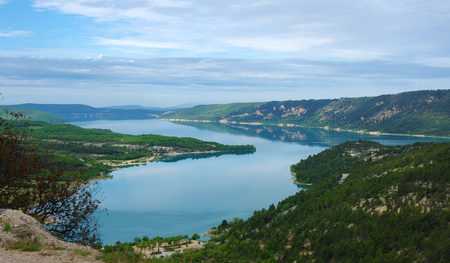 lac: Top view on Lac de Sainte-Croix in Provence, France Stock Photo