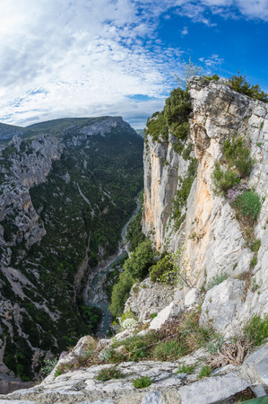 ravine: View on the cliffs of the Gorge du Verdon in Provence, France