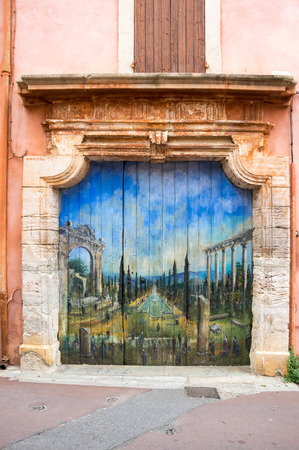 ochre: Street of medieval village of Roussillon. It ochre village is included in list of The most beautiful villages of France