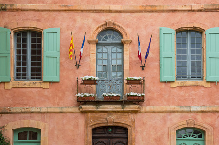 yellow ochre: House of medieval village of Roussillon. It ochre village is included in list of The most beautiful villages of France