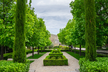 gordes: Park of medieval village of GORDES, which is included in list of The most beautiful villages of France