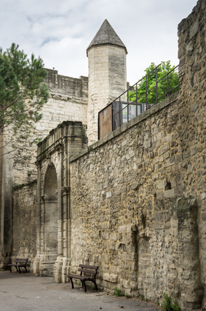 avignon: View on fortress wall in Avignon, France Editorial