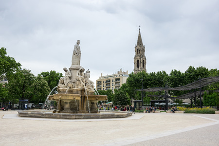 charles de gaulle: NIMES, FRANCE - MAY 04, 2015: Esplanade Charles de Gaulle of Nimes. Nimes is a famous and very popular among tourists city in Provence in south of France