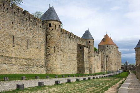 roussillon: Medieval castle of Carcassonne, Languedoc - Roussillon, France Editorial