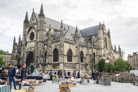 BORDEAUX, FRANCE - MAY 06, 2015: Flea market at Place de Meynard, Bordeaux. Bordeaux is a port city on the Garonne river in southwestern France