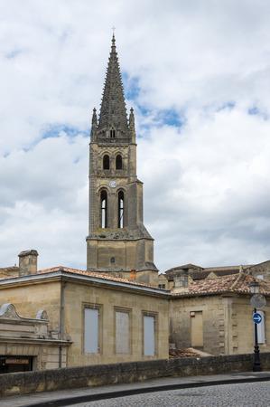 bordeaux region: The belltower of the monolithic church in Saint-Emilion, France