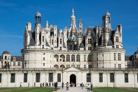 french renaissance: CHAMBORD, FRANCE - MAY 07, 2015: The royal Chateau de Chambord at Loir-et-Cher, France, is one of the most recognizable castles in the world because of its very distinctive French Renaissance architecture Editorial