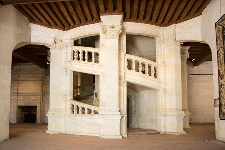 french renaissance: The double helix open staircase of the Chateau de Chambord, Loir-et-Cher, France