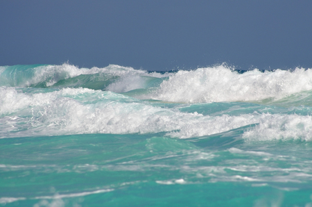 cancun: The waves of Caribbean sea, Cancun, Mexico Stock Photo