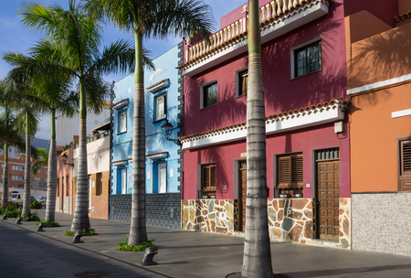 Beautiful colorful buildings in the old town of Puerto De La Cruz, one of the most popular touristic towns on Tenerife, Canary islands, Spain