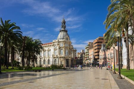 center city: CARTAGENA, SPAIN - OCTOBER 13, 2014: City Hall of Cartagena, spanish city and a major naval station located in the Region of Murcia, by the Mediterranean coast, south-eastern Spain