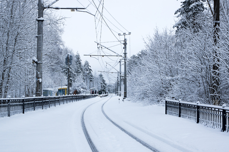 wood railroads: Railway station in winter, Leningrad region, Russia