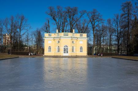 selo: Bathhouse pavilion in Catherine park  in Tsarskoe Selo near Saint Petersburg, Russia Editorial