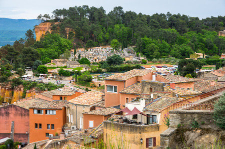 ochre: View on the beautiful medieval village of Roussillon. It ochre village is included in list of The most beautiful villages of France Stock Photo